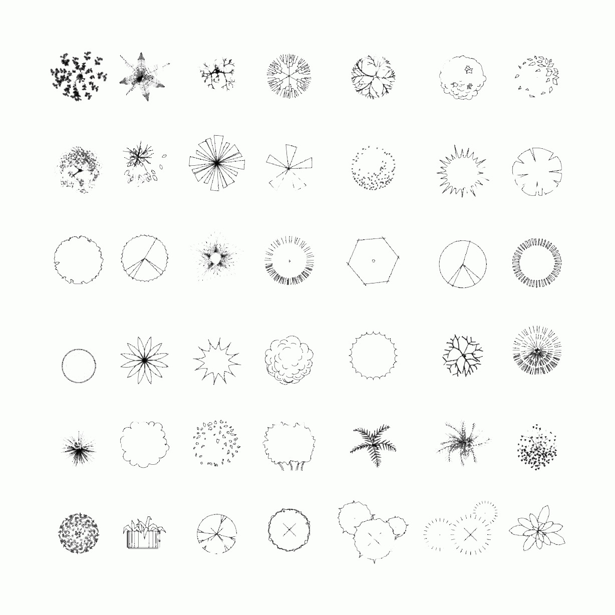 Vector Tree Symbols Plan: Top View And Side View Set Of Graphics Trees Elements Outline Symbol For Gm