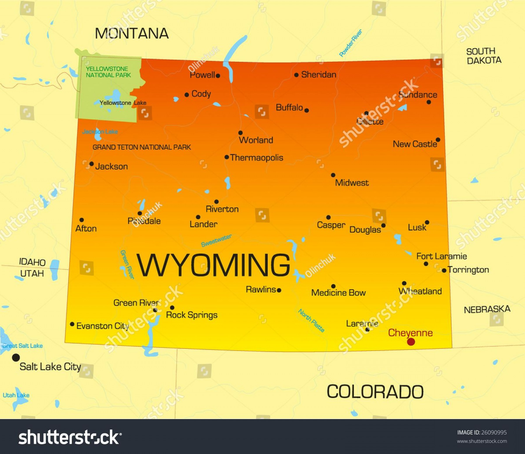 Colorado State Vector Maps: Top Wyoming Mi Map Vector Library