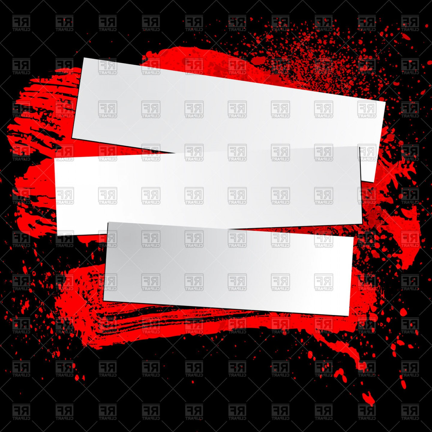Grunge Background Vector Graphic: Torn Paper Banners On Dark Grunge Background With Ink Blots Vector Clipart
