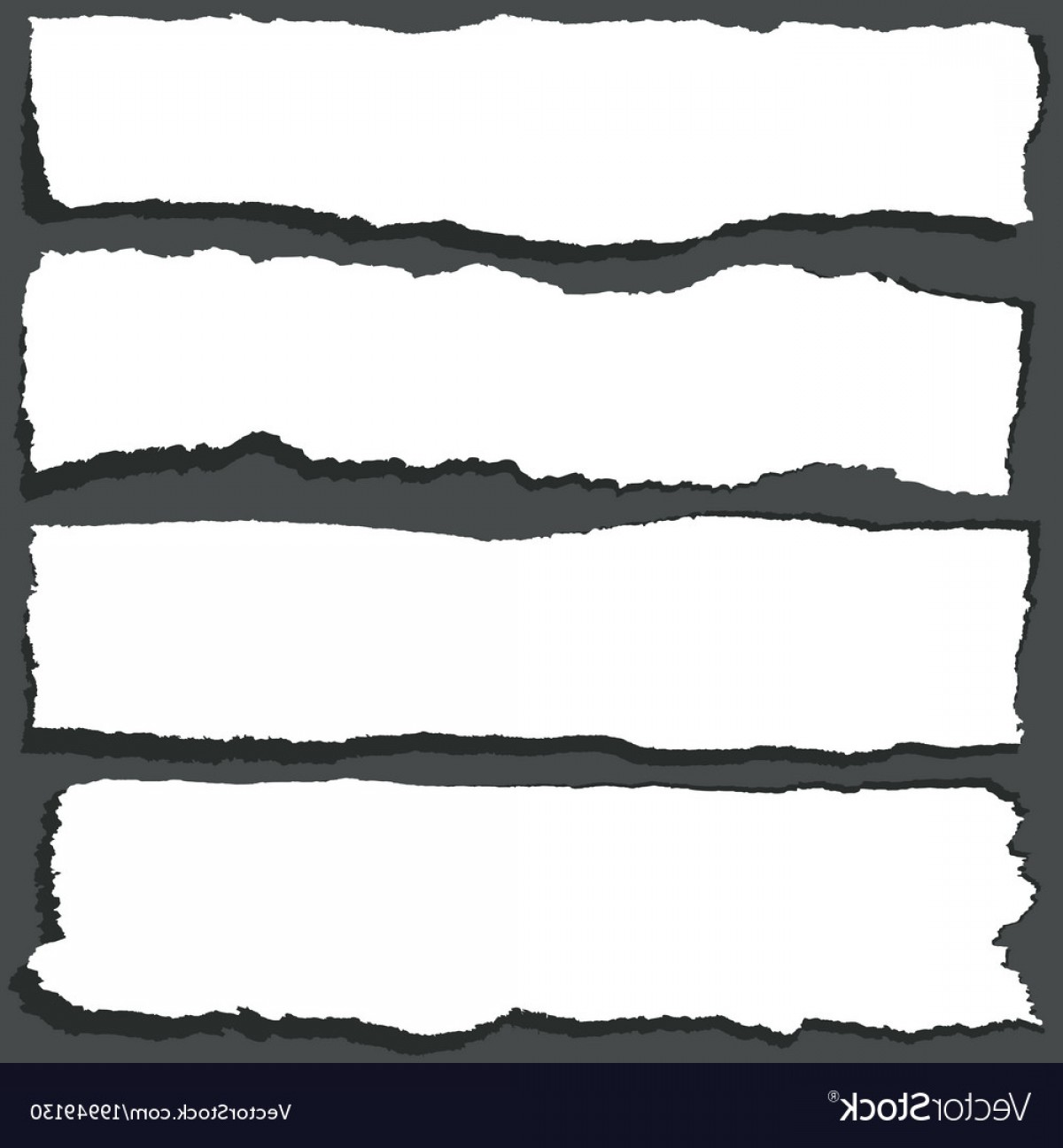 Ripped Black And White Vector: Torn Paper Ribbons With Jagged Edges Abstract Vector
