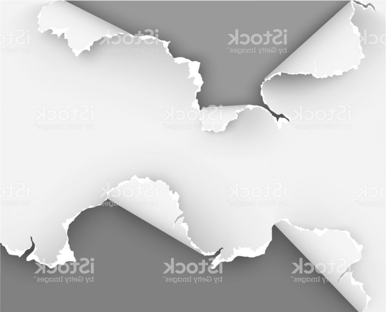 Ripped Black And White Vector: Torn Paper With Ripped Holes On White Background Gm