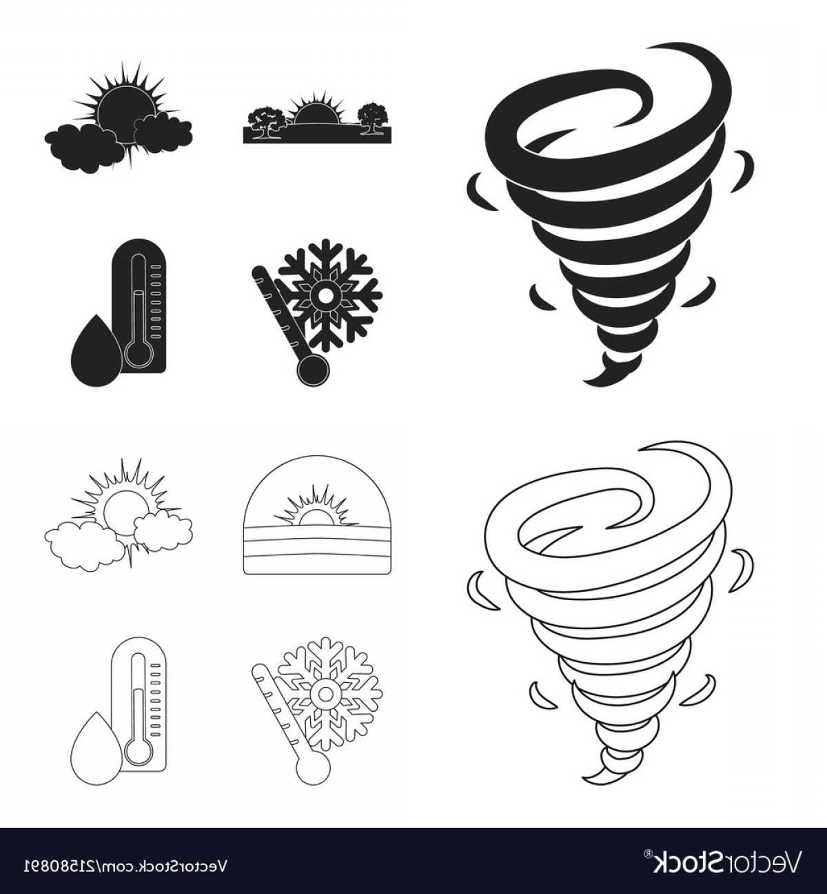 Snow Cone Outline Vector: Tornado Sunrise Cloudiness Snow And Frost The Vector