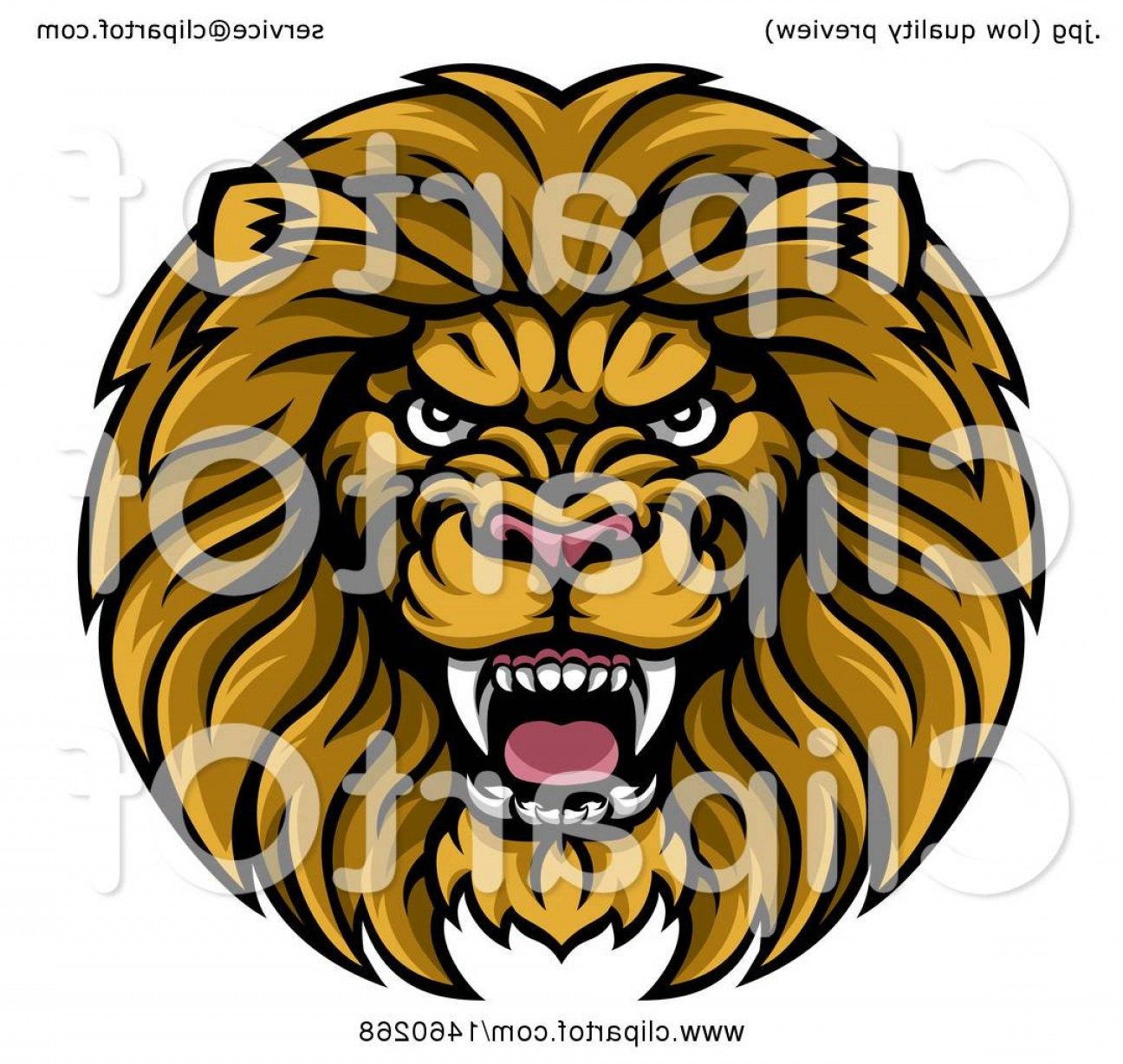 Malee Cat Head Silhouette Vector: Tough Male Lion Head Mascot