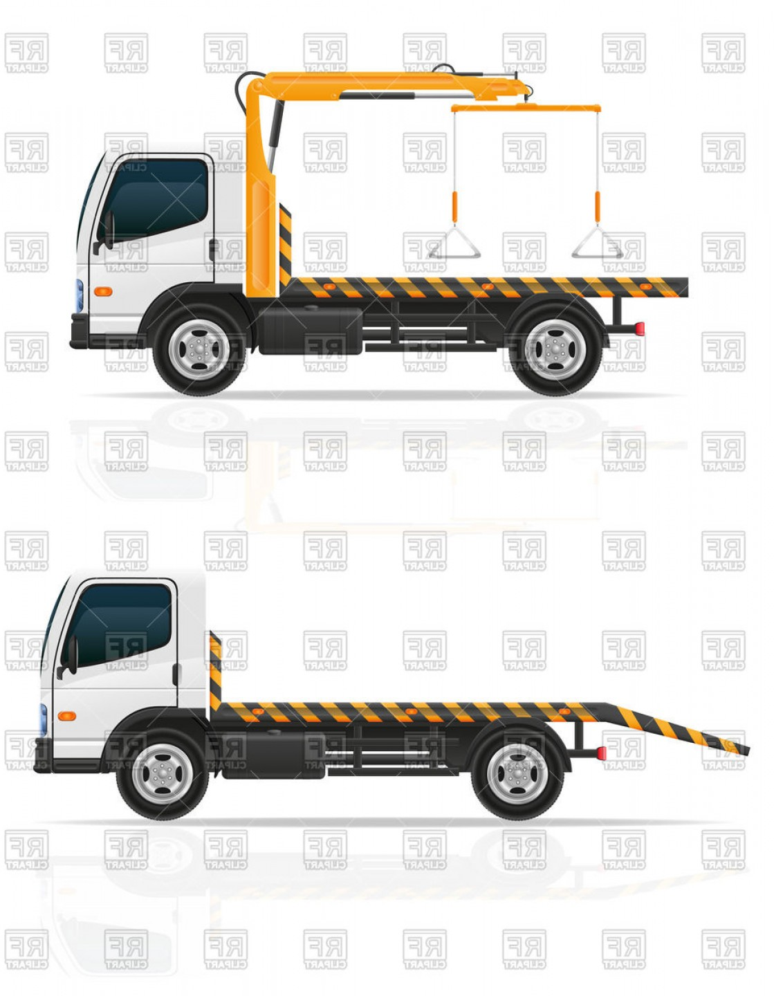 Towing Vector Clip Art: Tow Truck Breakdown Van Emergency Car Side View Vector Clipart