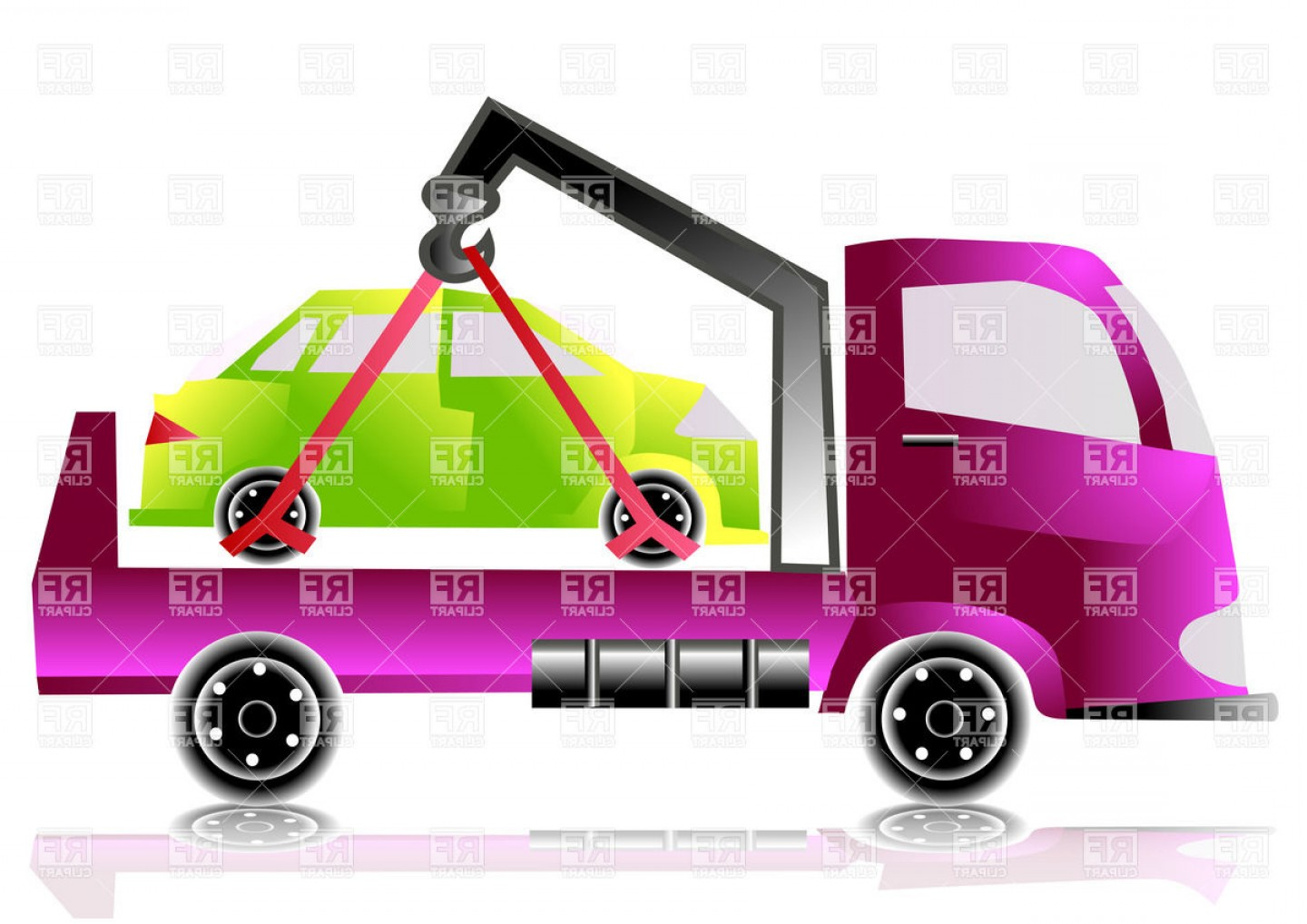 Towing Vector Clip Art: Tow Truck With Small Car Vector Clipart