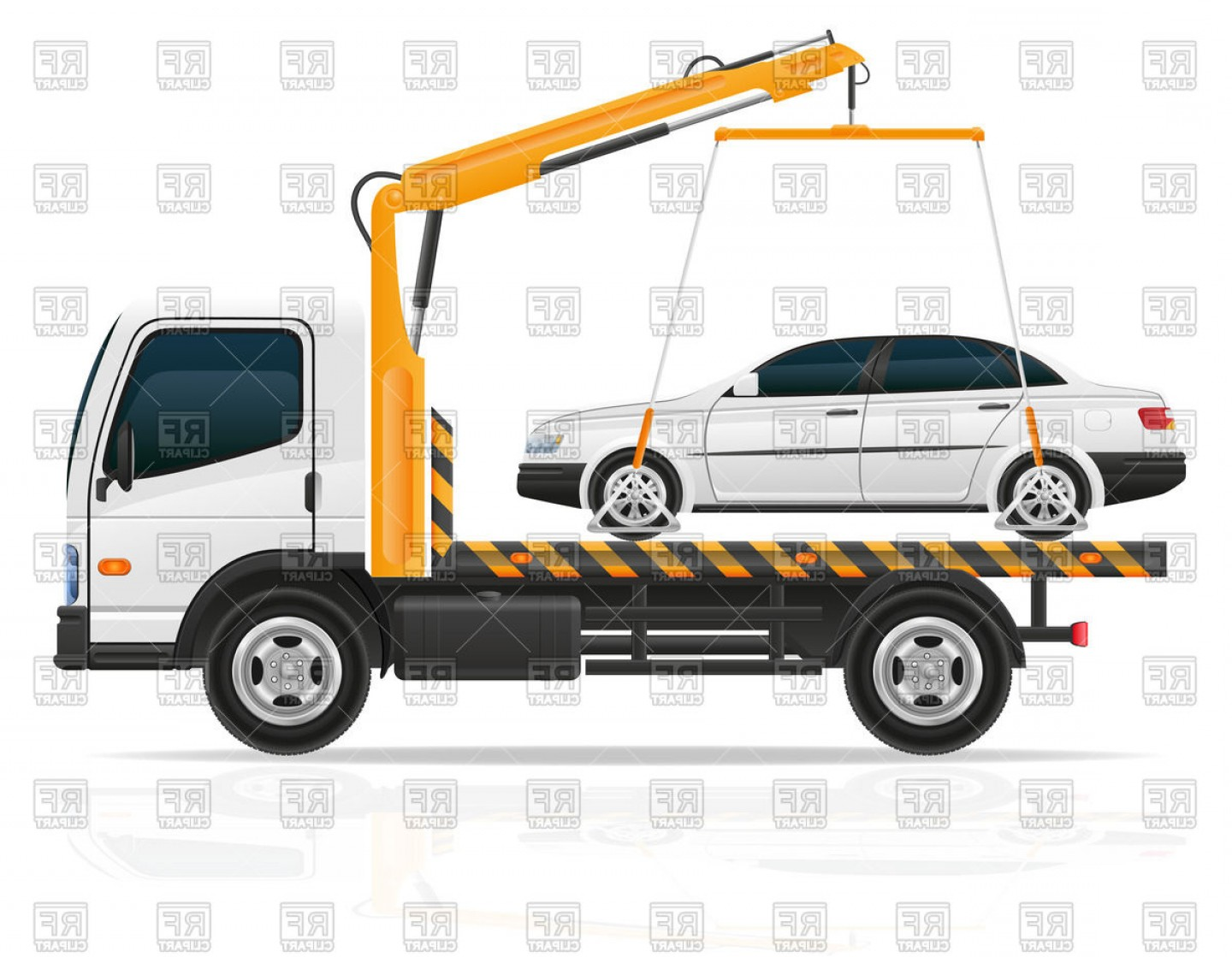 Towing Vector Clip Art: Tow Truck With Small Sedan Car Vector Clipart