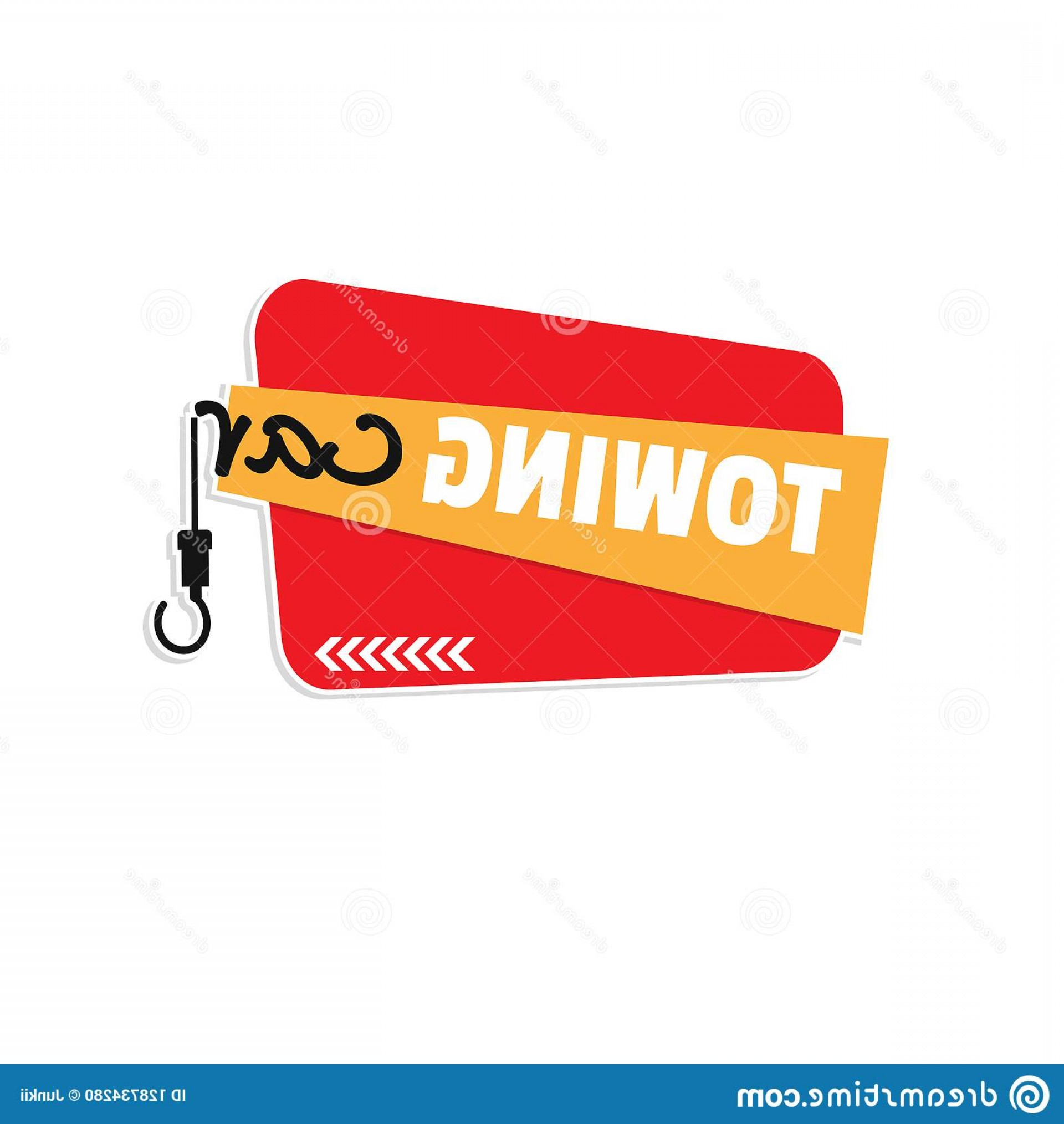 Car Tow Hook Vector: Towing Car Service Flat Background Vector Design Hook Red Image