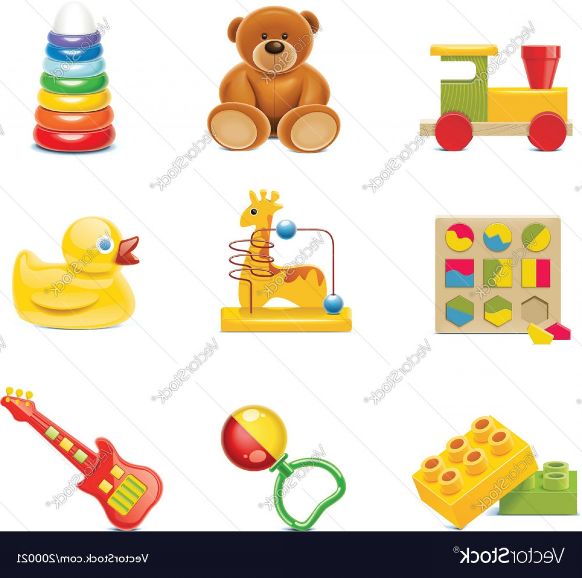 Baby Toy Vector: Toy Icons Baby Toys Vector
