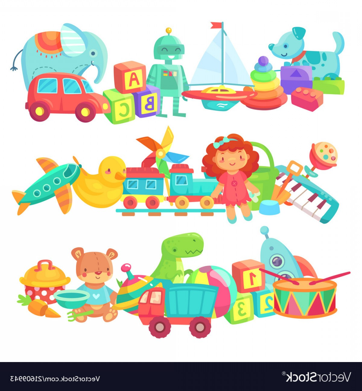 Baby Toy Vector: Toy Piles Kids Toys Groups Cartoon Baby Doll And Vector
