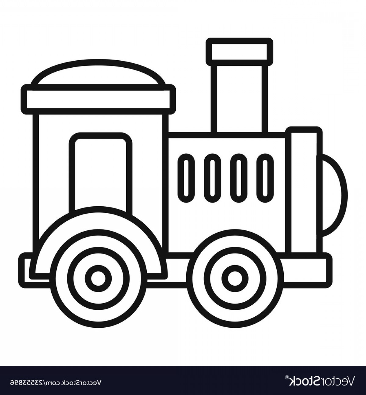 Vector Train Wheel: Toy Train Icon Outline Style Vector