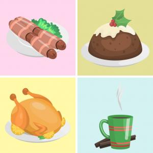 Christmas Food Clip Art Vector: Traditional Christmas Food Cards Desserts Holiday Vector
