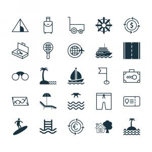 Vector Travel Icons: Travel Icons Set Collection Of Trip Access Trip Vector
