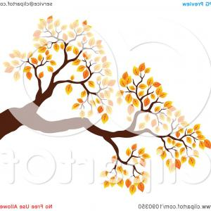Fall Tree Limb Vector: Tree Branch With Autumn Foliage
