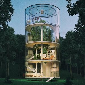 Vector Modern Tree House: A Modern Houses With Tree And Clouds And Along The Roads Gm