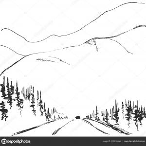 Treeline And Mountain Vector: Tree Line Silhouette Clipart Vector
