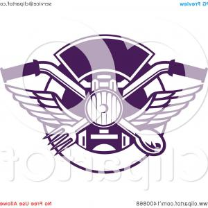 Headlight Vector Png: Glamorous Retro Crossed Spoon Fork And Bone With Wings Over A Headlamp In A Purple And White Shield