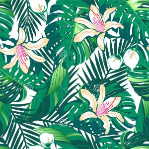 Hawaiian Flower Seamless Vector Pattern: Exclusive Seamless Tropical Flower Vector Pattern Background