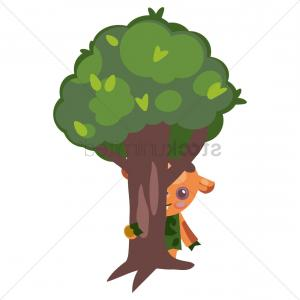 Tribal Vector Art Trees: Tribal Cartoon Character Hiding Himself In The Back Of Tree