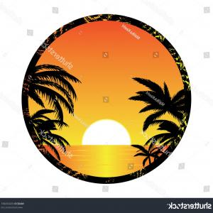 Vector Tropical Beach Sunset: Tropical Beach Sunset Vector Illustration Abstract