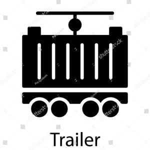 Enclosed Trailer Vector: Truck And Trailer Silhouette