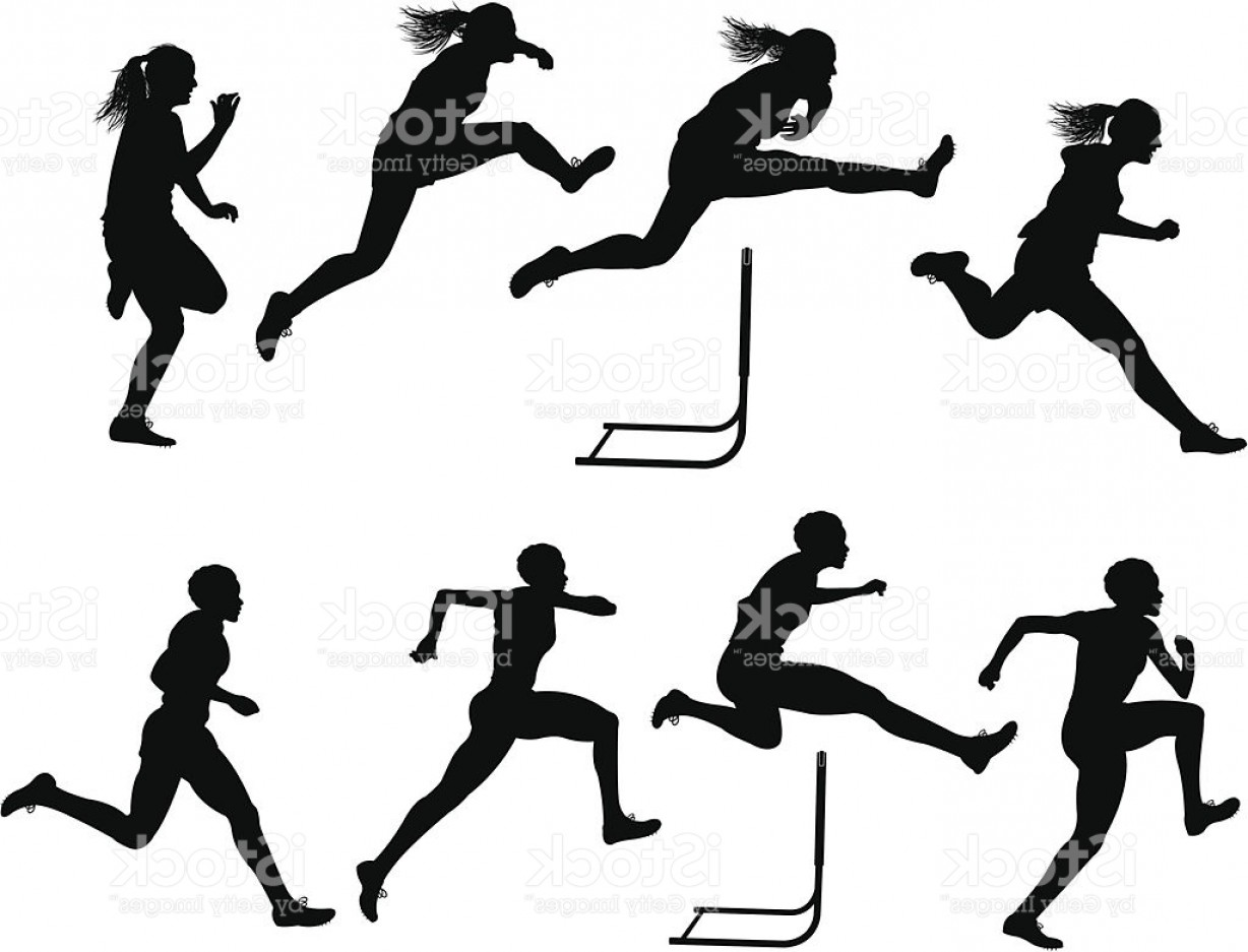 Vector Silhouette Of Girl Running Track: Track And Field Clipart Hurdles