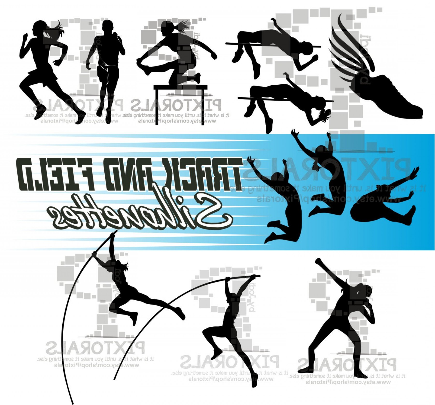 Vector Silhouette Of Girl Running Track: Track Field Silhouettes Eps File