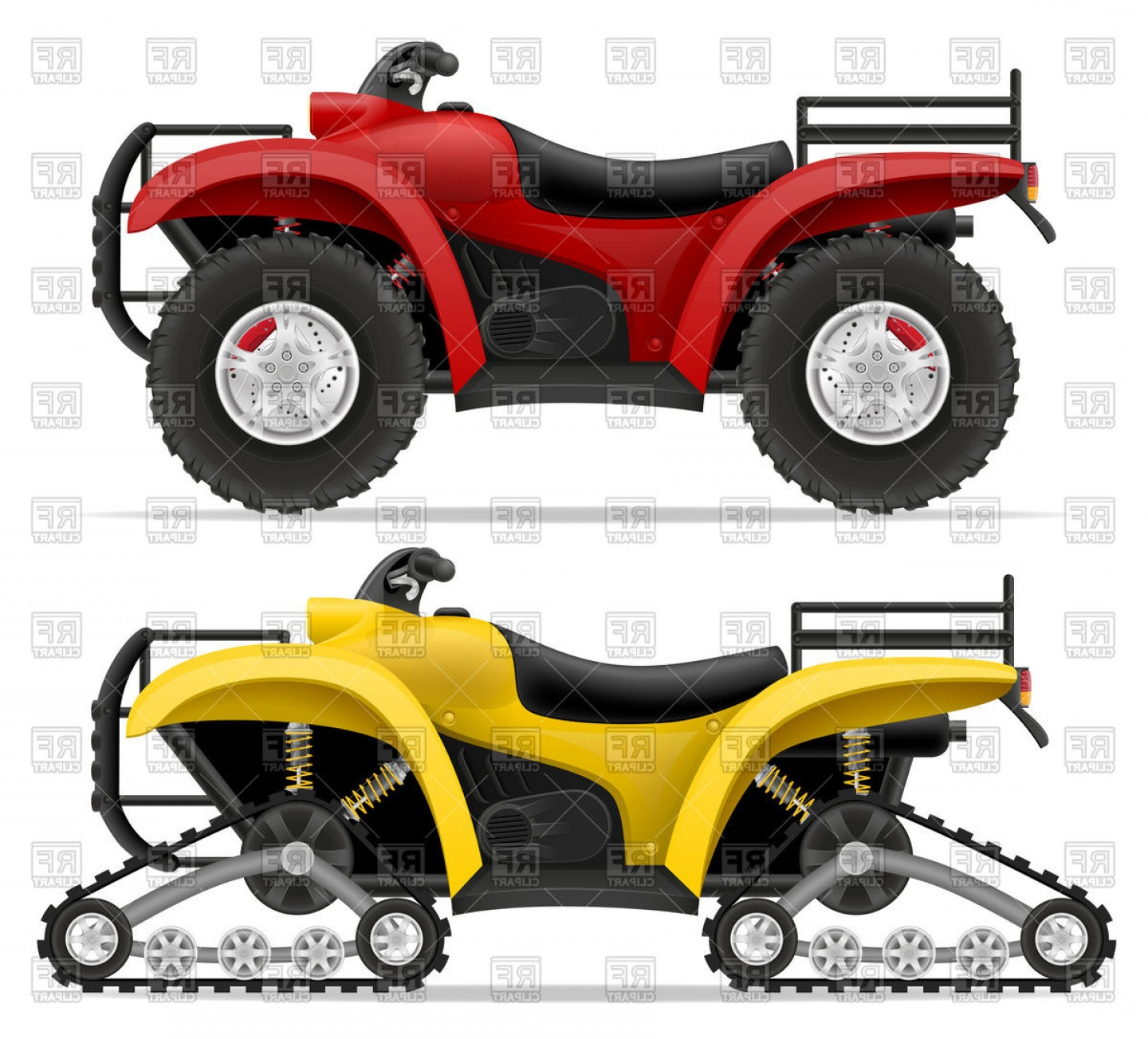 ATV Vector Clip Art: Track Type And Four Wheel All Terrain Vehicle Atv Vector Clipart
