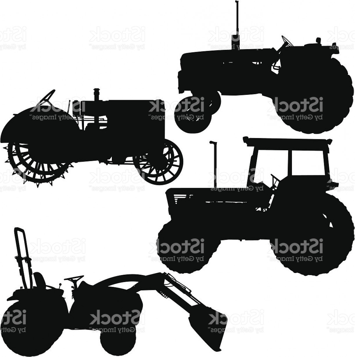 Tractor Silhouette Vector Art: Tractor Silhouettes Modern And Antique Gm