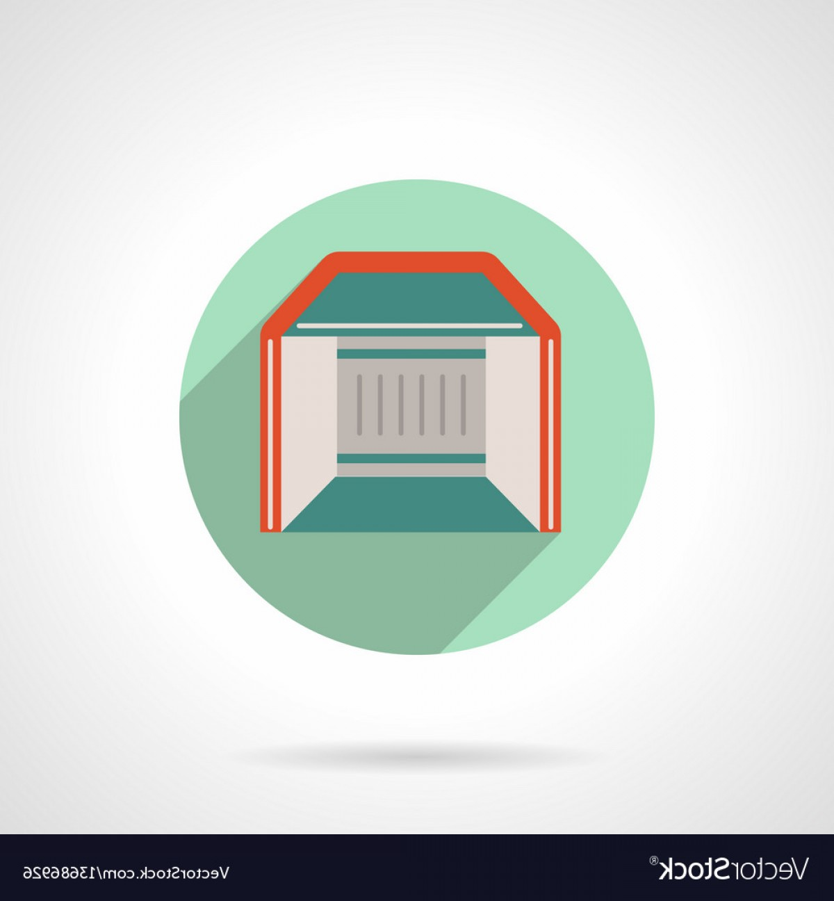 Commercial Booth Vector: Trade Show Booth Flat Round Icon Vector
