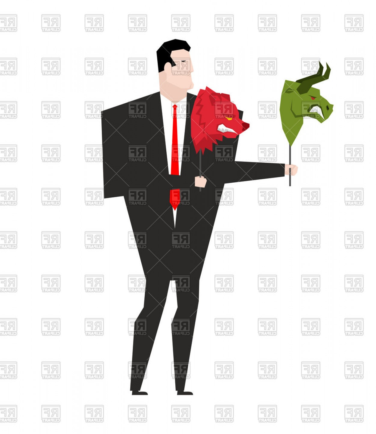 Gas Mask Suit And Tie Vector: Trader And Mask Of Green Bear And Red Bull Vector Clipart