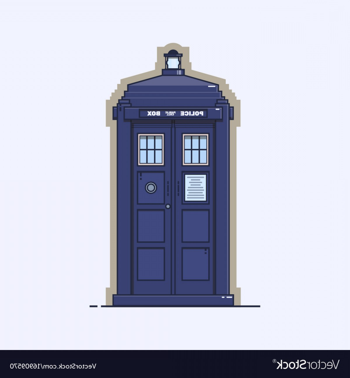 Vector Police Box: Traditional British Police Box A Blue Police Vector