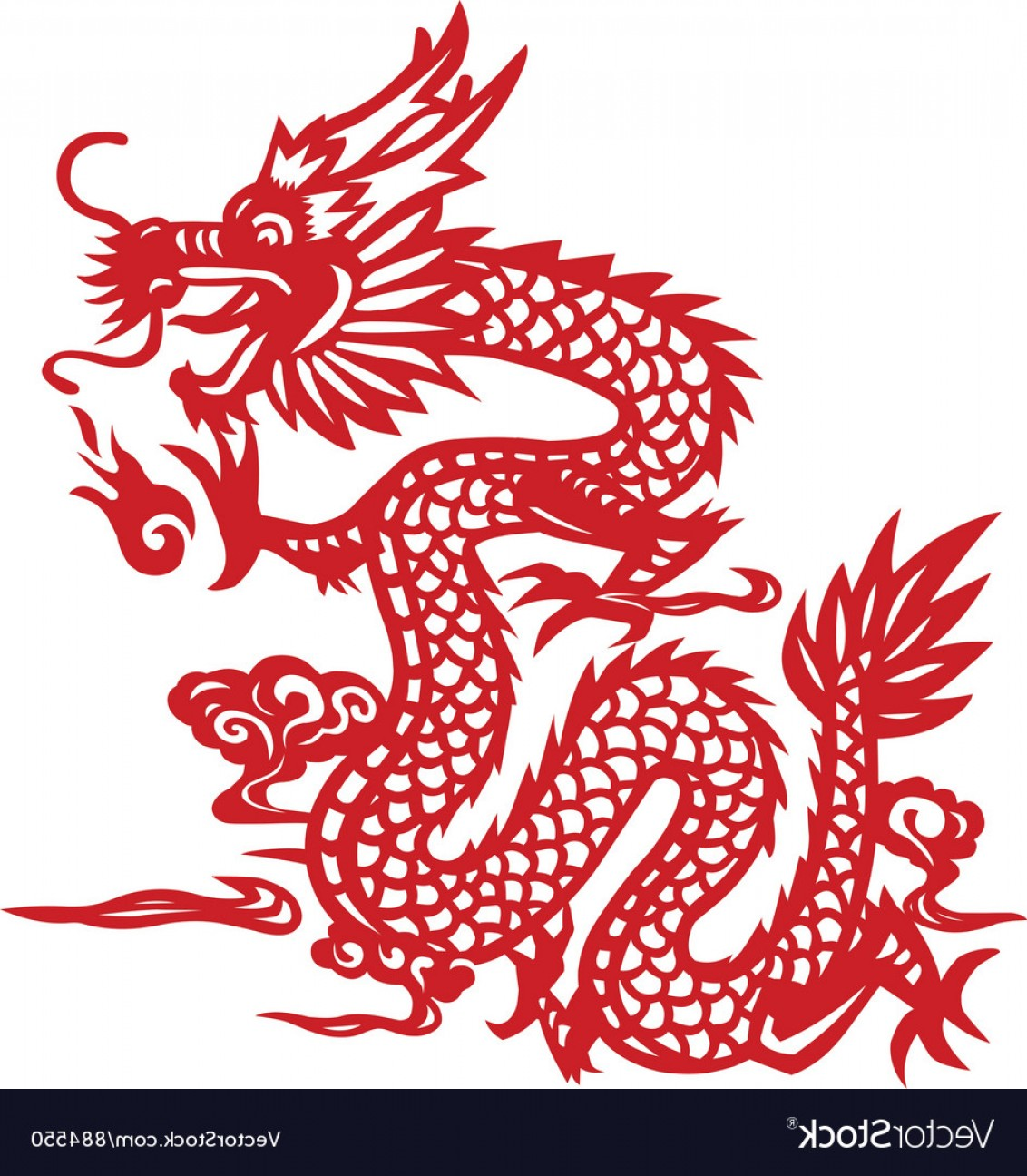 Oriental Dragon Vector: Traditional Chinese Dragon Paper Cut Art Vector