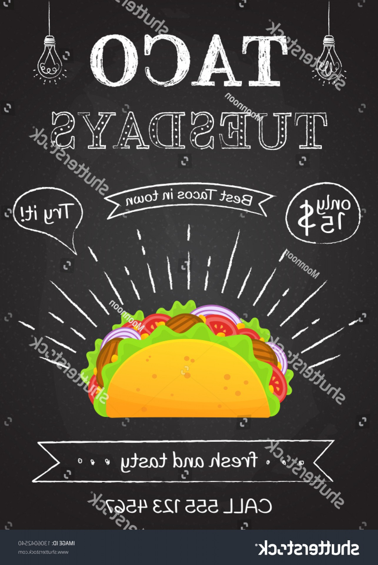 Steak Taco Vector Art: Traditional Mexican Food Taco Tuesday Poster