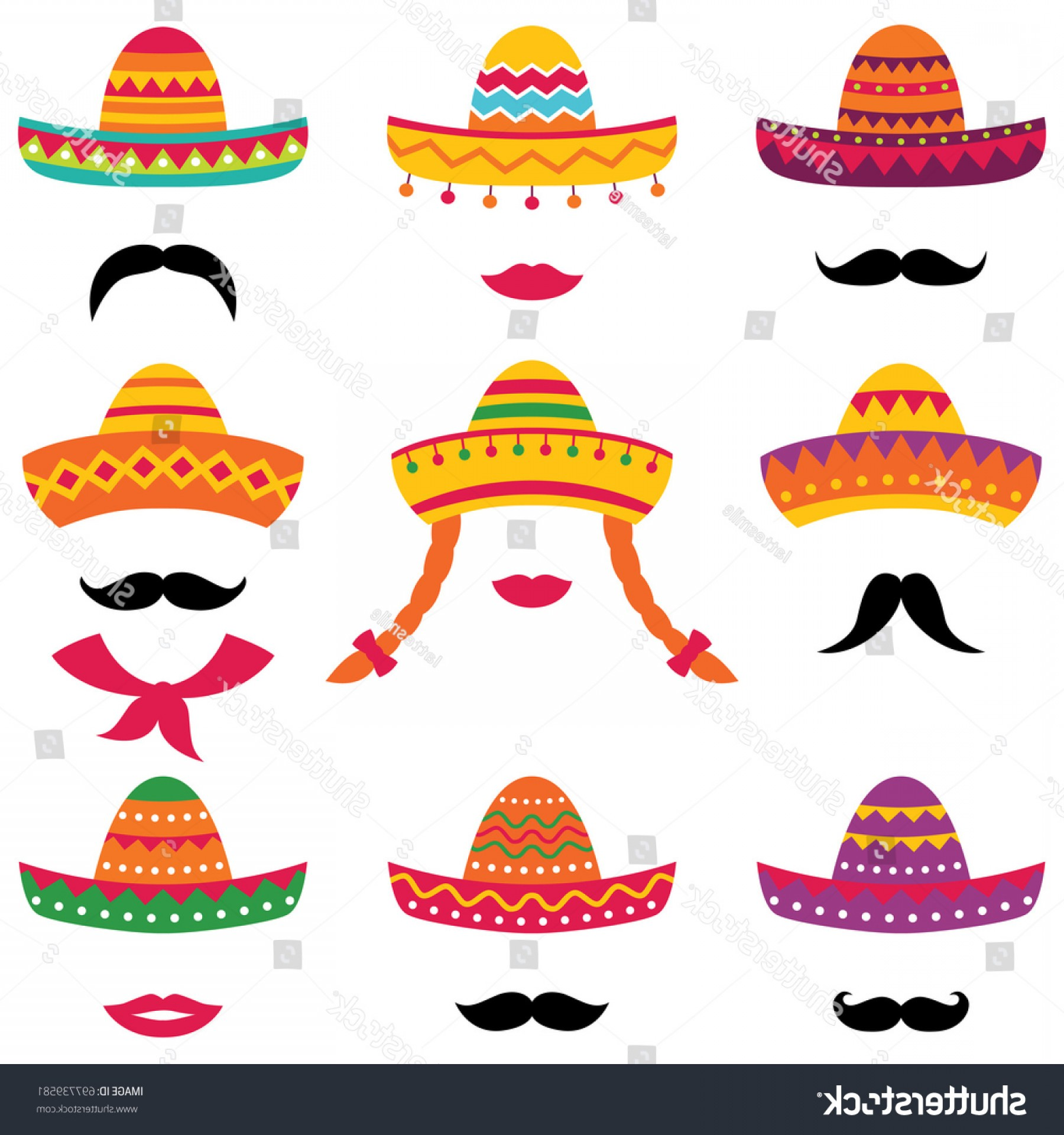 Sombrero Hat Vector: Traditional Mexican Sombrero Hats Vector Set
