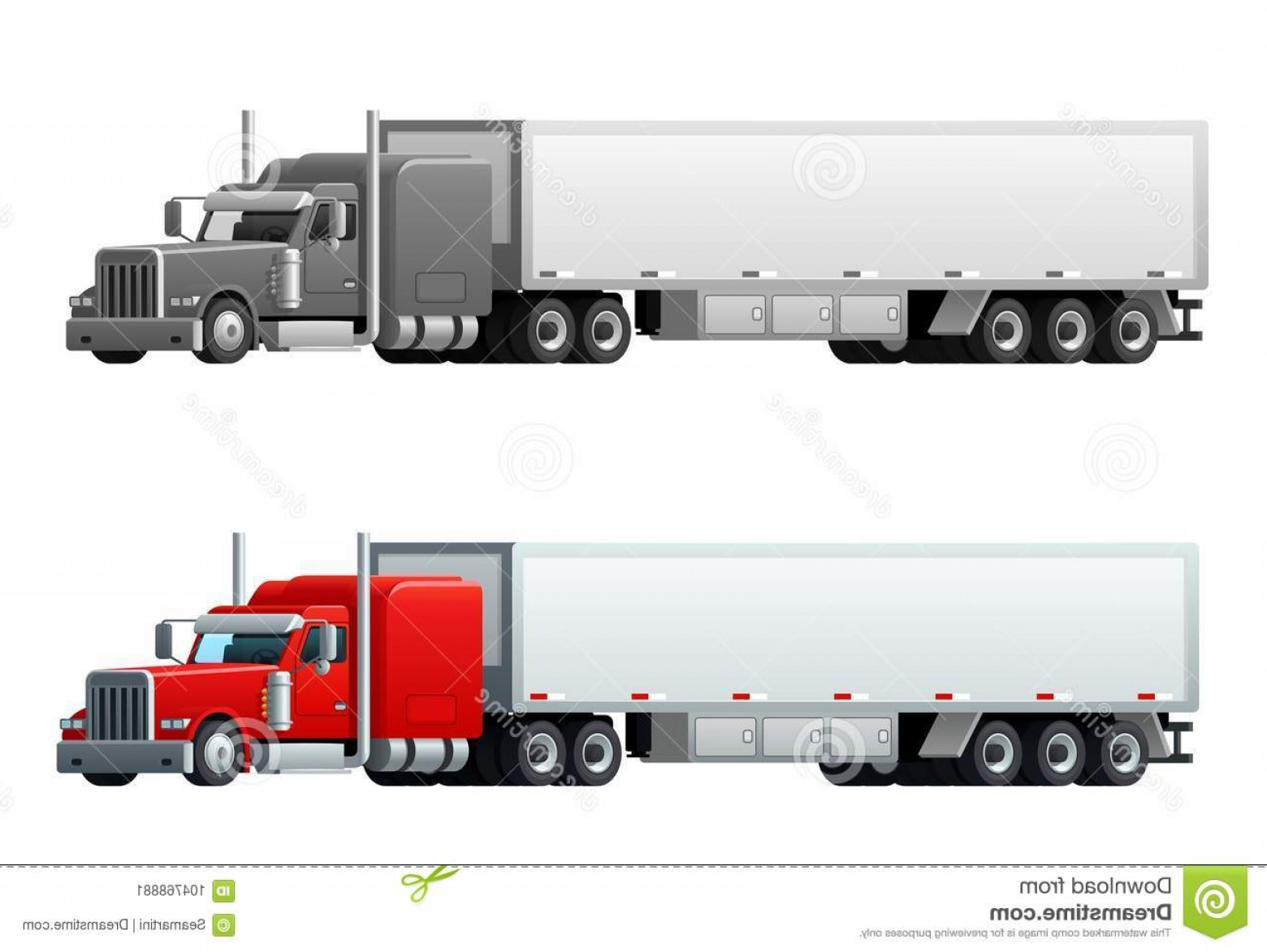 Vector Truck And Trailer Hauling: Trailer Trucks Long Vehicle Transport Delivery Transportation Load Cars Cargo Shipment Freight Lorry Trailers Logistics Image