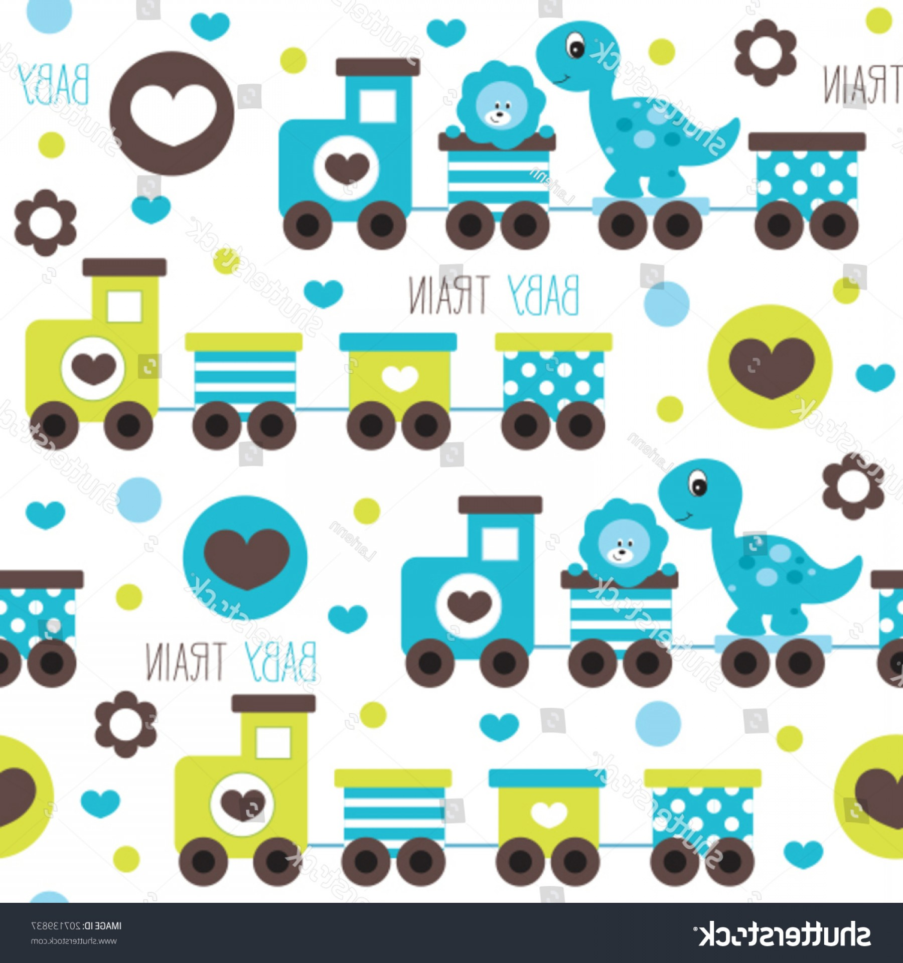 Vector Train Pattern: Train Dino Leo Pattern Vector Illustration