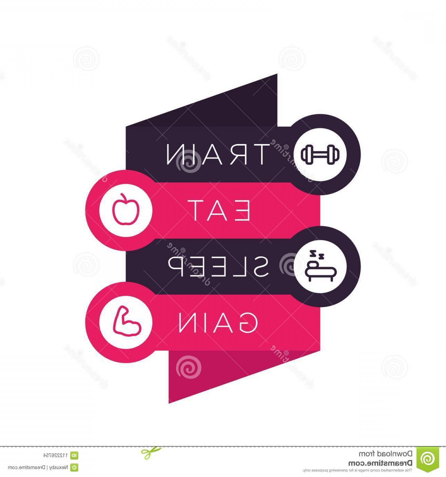 Eat Sleep Vector: Train Eat Sleep Vector Poster Gym Step Labels Fitness Line Icons Image