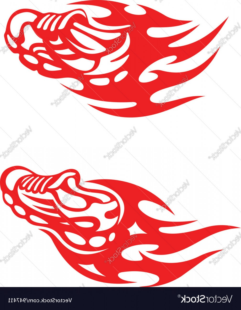 Tribal Football Vector Art: Trainers With Tribal Flames Vector