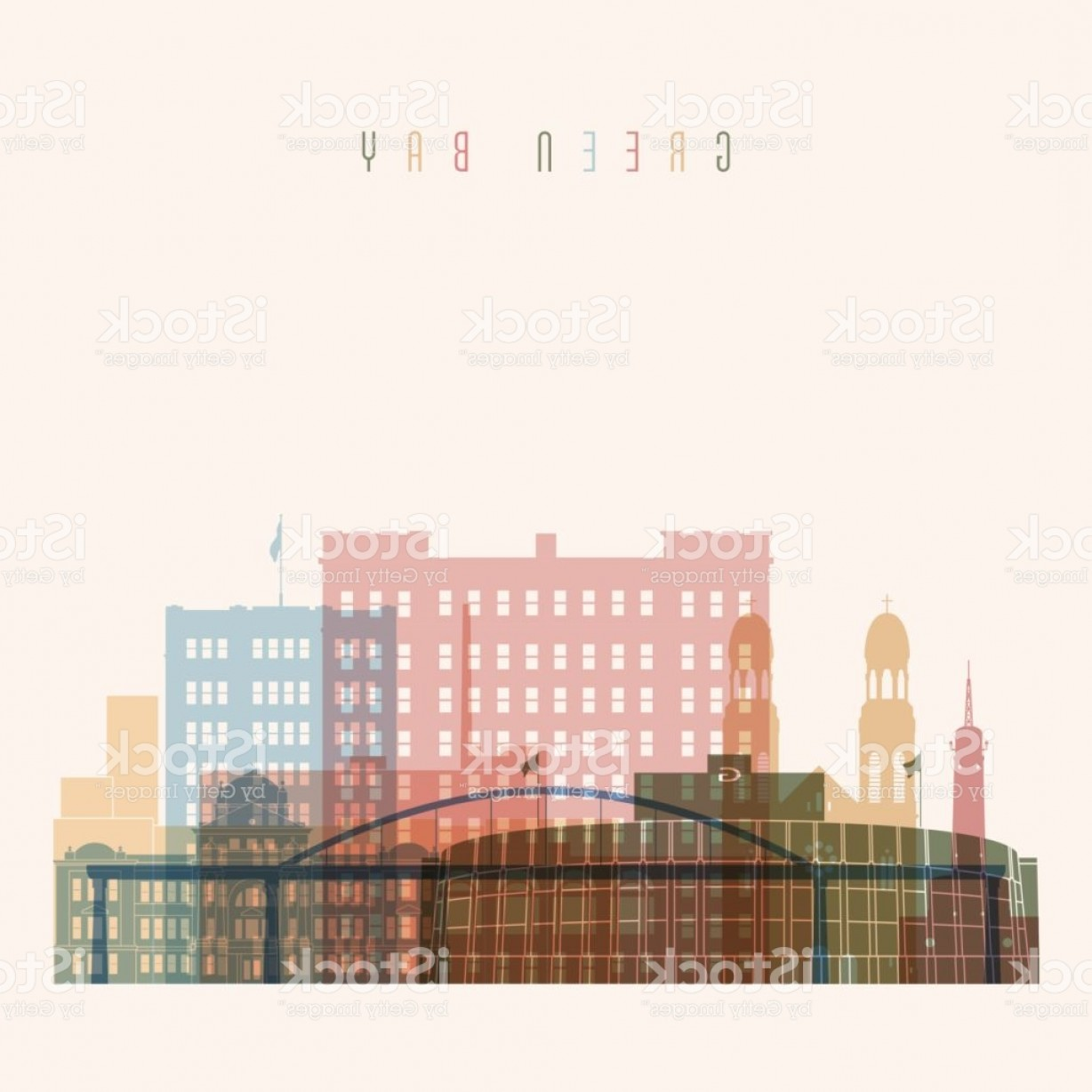 Green Bay Vector: Transparent Style Green Bay State Wisconsin Skyline Detailed Silhouette Trendy Gm