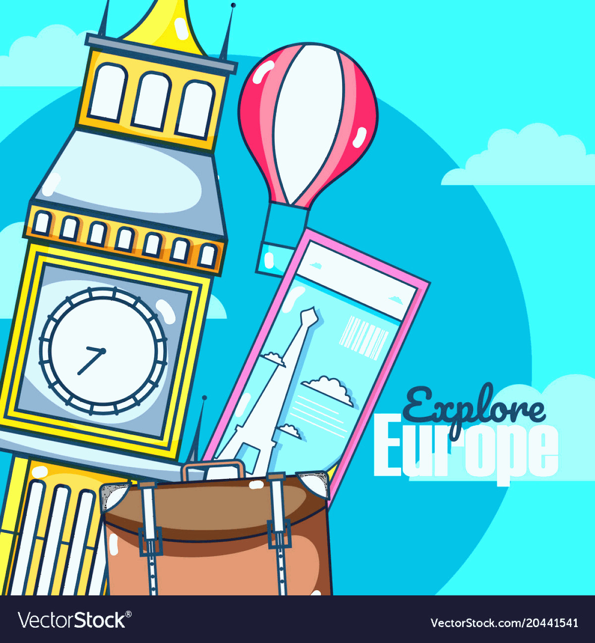 Discover Card Logo Vector: Travel And Discover Europe Card Over Sky Vector