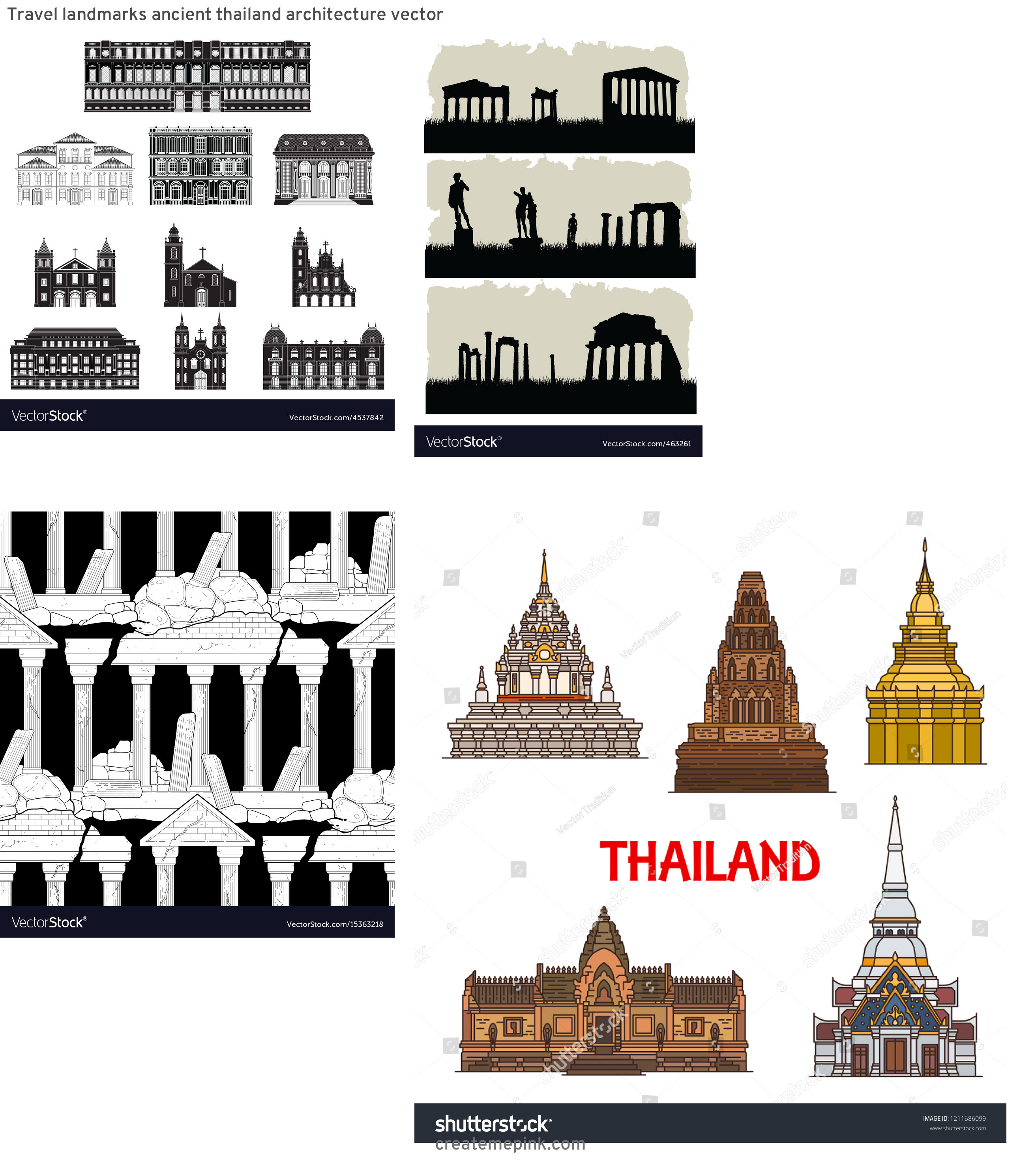 Ancient Architecture Vector: Travel Landmarks Ancient Thailand Architecture Vector