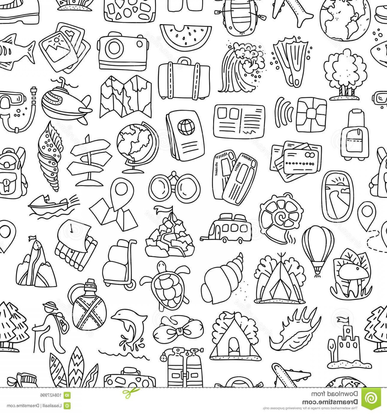Adventure Time Vector: Travel Summer Seamless Pattern Journey Trip Background Adventure Time Pattern Hand Draw Style Vector Travel Summer Image