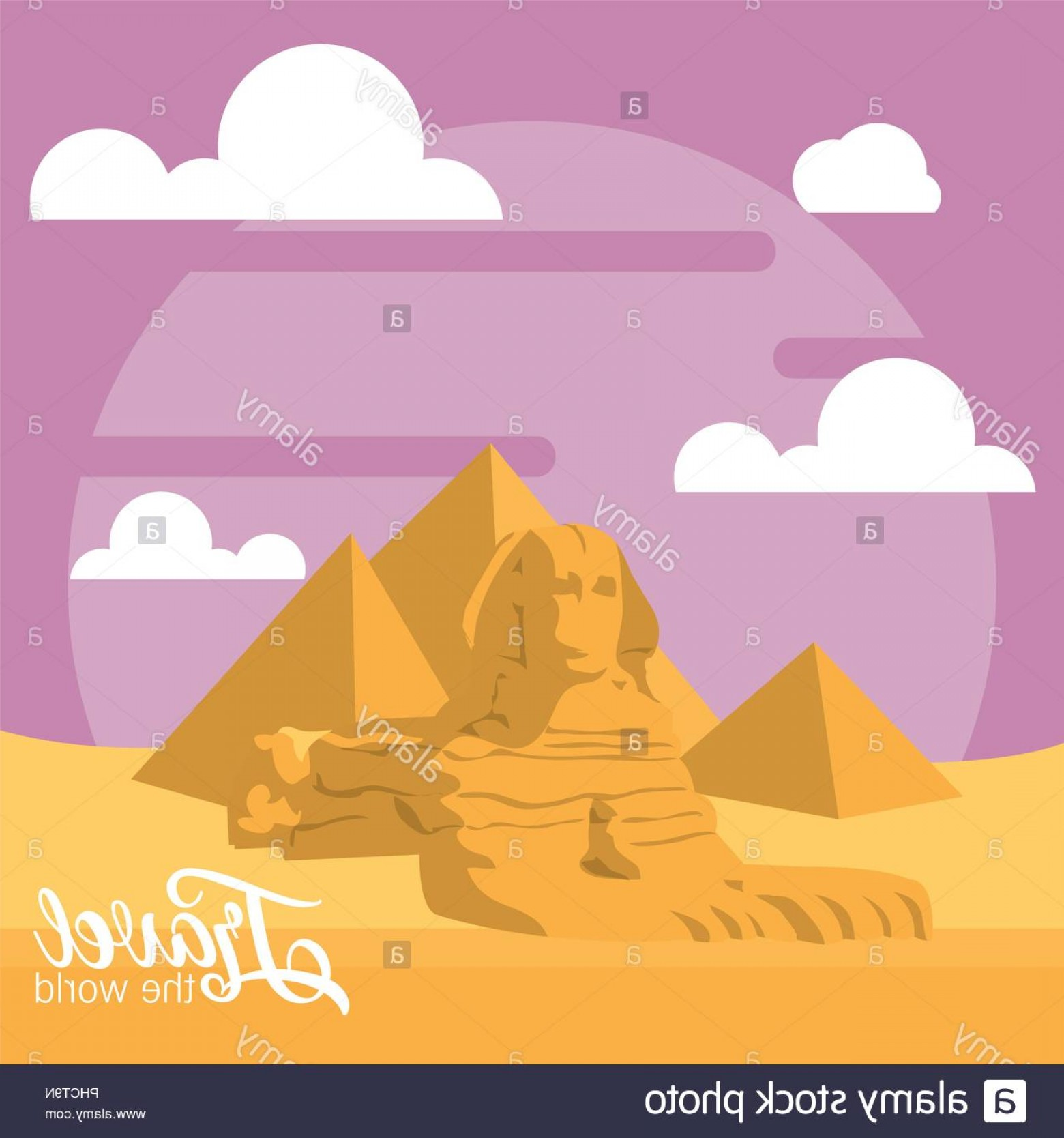 Piramids Vector Art: Travel The World Card With Egypcian Pyramids Vector Illustration Graphic Design Image