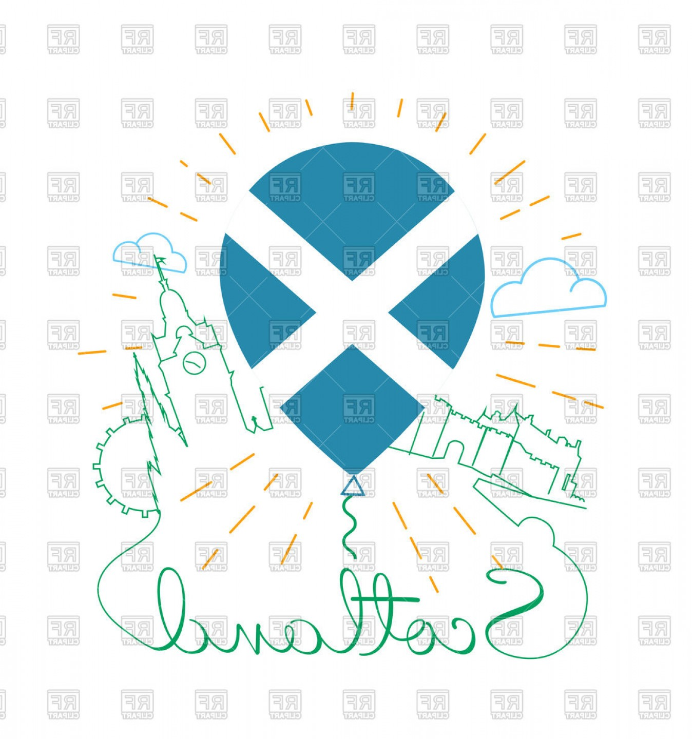 Scotland Heraldic Vector Graphic: Travel To Scotland Icon Air Balloon With The Flag Vector Clipart