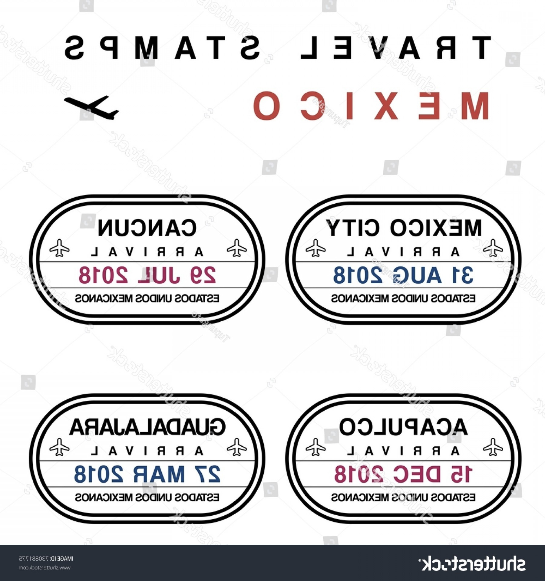 Vector Travel APS: Travel Vector Passport Stamps Set Fictitious