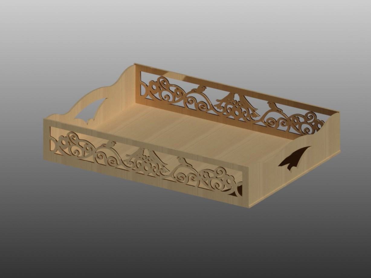 Vector 3 Tier Tray: Tray Pattern Vector For Laser Cutting