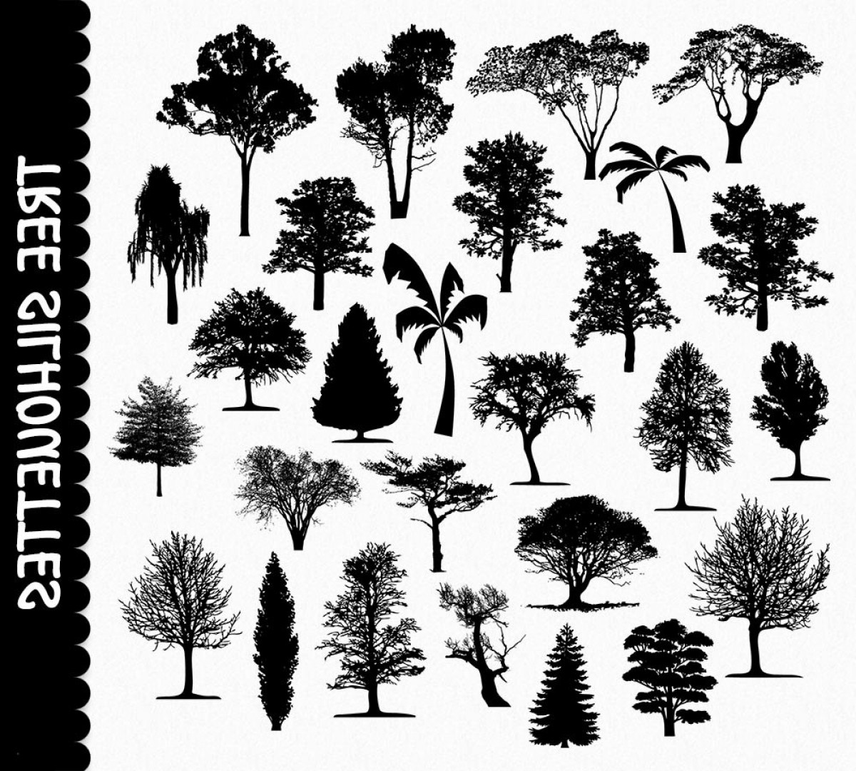 Tree Silhouette Vector Clip Art: Tree Graphics Tree Silhouette Clip Art