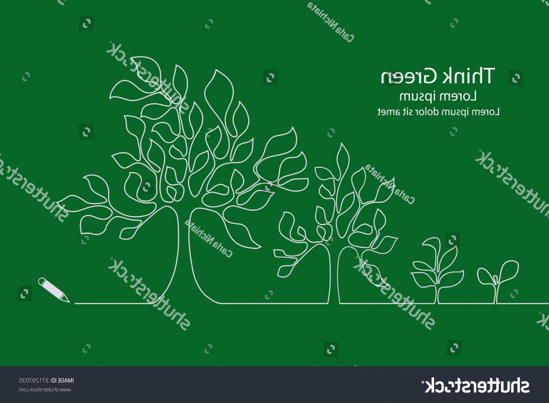 Continuous Tree Branch Vector Image: Tree Growing Continuous Line Design Vector