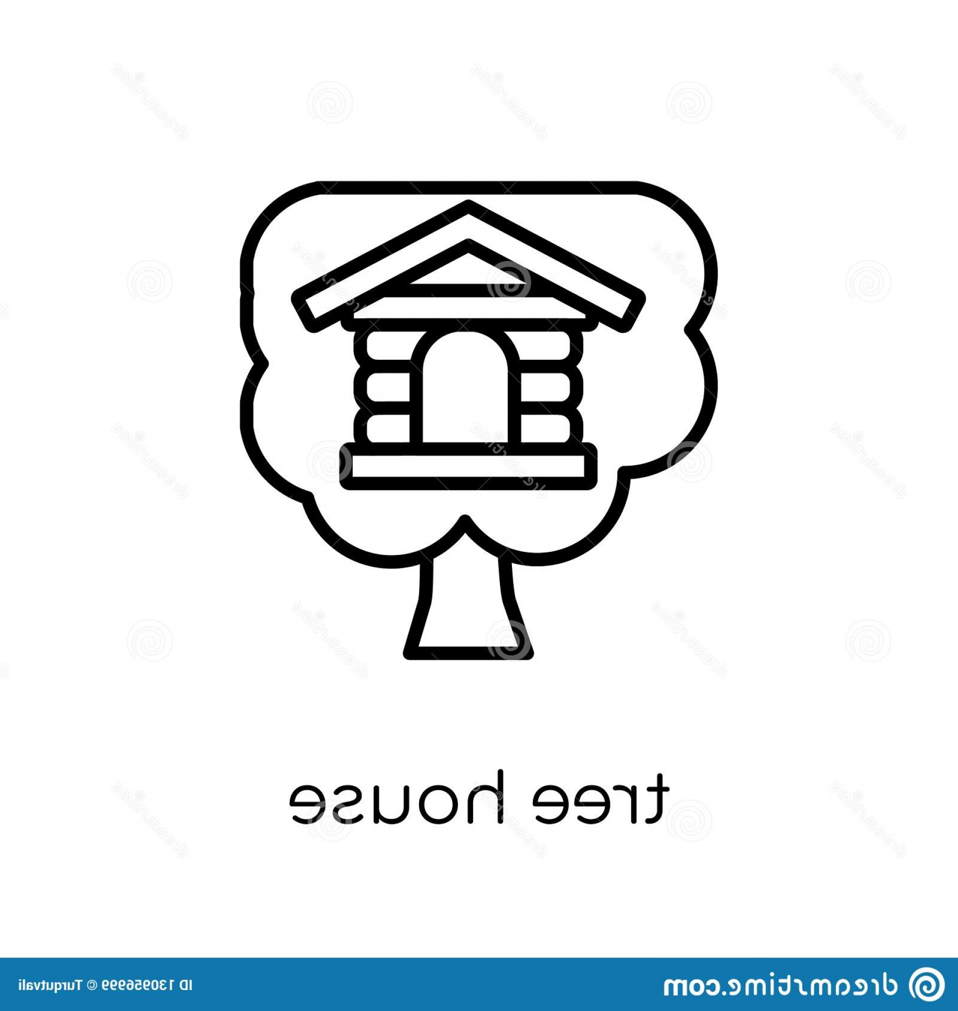 Vector Modern Tree House: Tree House Icon Real Estate Collection Trendy Modern Flat Linear Vector White Background Thin Line Outline Illustration Image