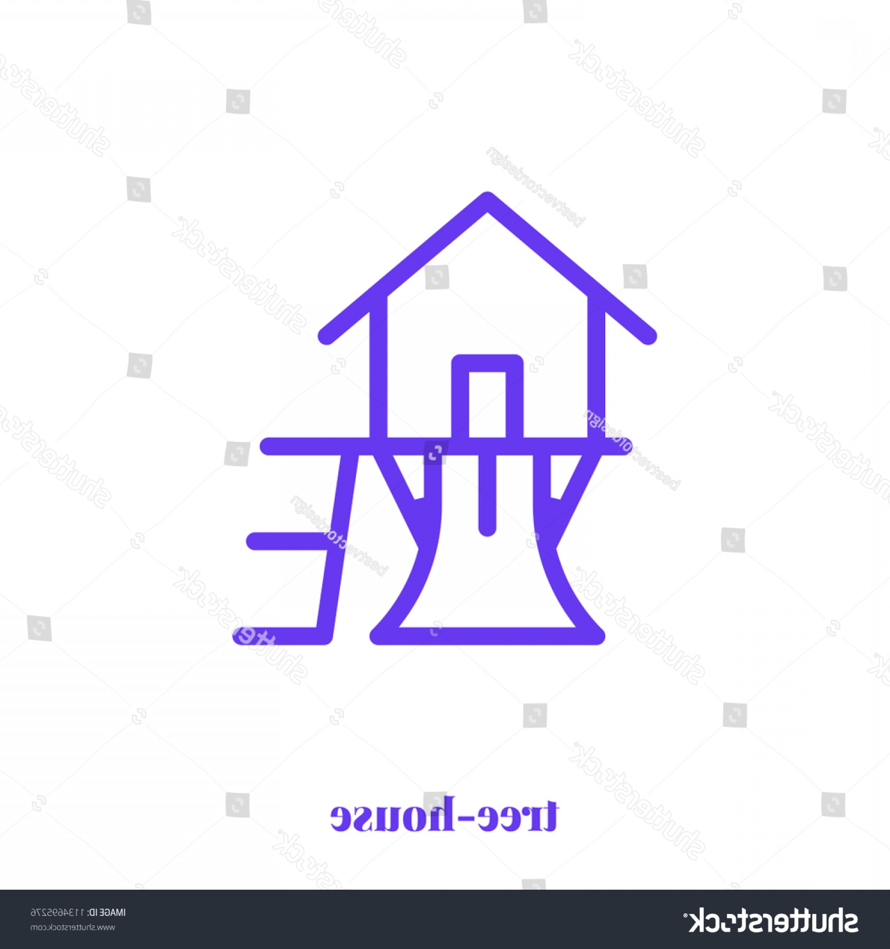 Vector Modern Tree House: Tree House Icon Vector Modern Simple